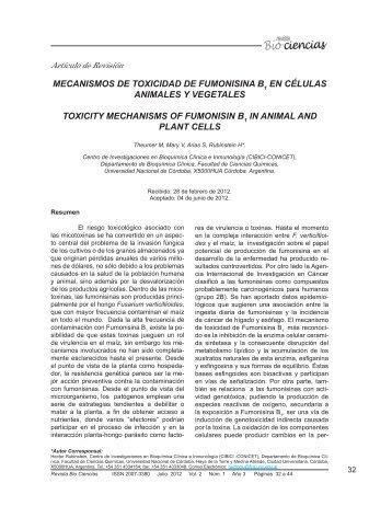 mecanismos de toxicidad de fumonisina b1 en células animales y ...