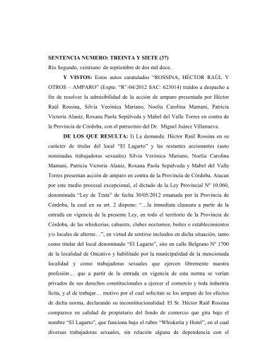 SENTENCIA NUMERO: TREINTA Y SIETE (37) - Gobierno de la ...
