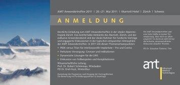A N M E L D U N G - AMT Advanced Medical Technologies AG