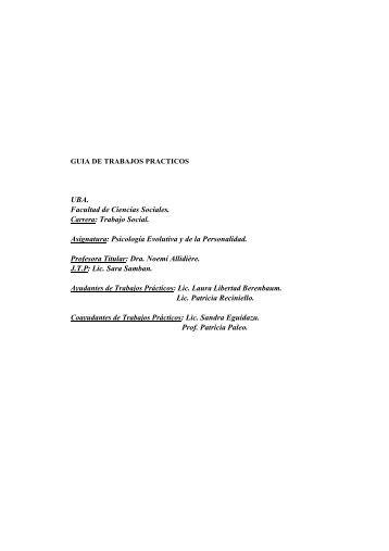 UBA. Facultad de Ciencias Sociales. Carrera: Trabajo ... - Catedras