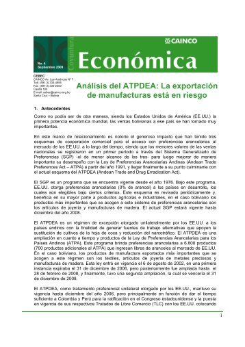 Análisis del ATPDEA: La exportación de manufacturas ... - CAINCO