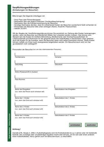 information zur verpflichtungserklärung, Einladung