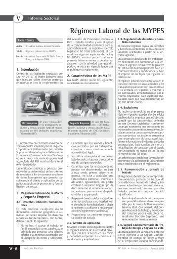 V Régimen Laboral de las MYPES - Revista Actualidad Empresarial