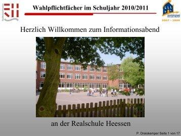 Wahlpflichtfächer im Schuljahr 2010/2011