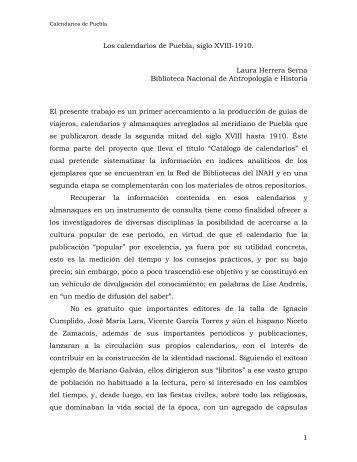 Los calendarios de Puebla, siglo XIX y principios del XX