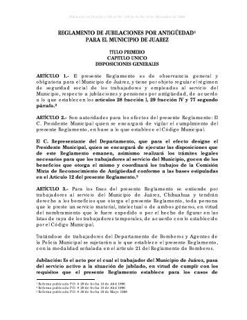 reglamento de jubilaciones por antigedad - Municipio de Ciudad ...