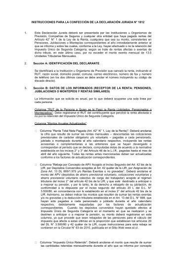 instrucciones para la confección de la declaración jurada n° 1812