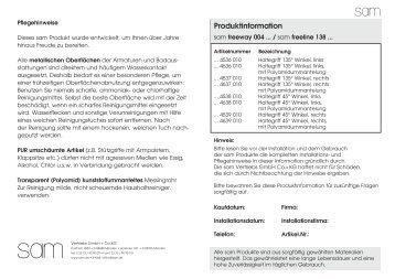 Produktinformation - sam Vertriebs GmbH + Co. KG