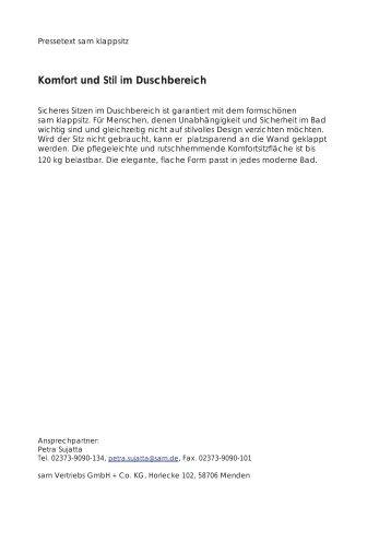 Komfort und Stil im Duschbereich (pdf) - sam Vertriebs GmbH + Co ...