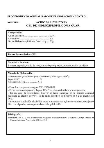 ACIDO SALICILICO EN GEL DE HIDROXIPROPIL GOMA GUAR