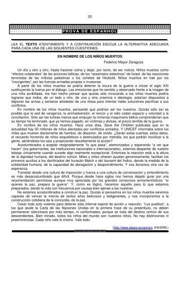 25 prova de espanhol lea el texto atentamente ya ... - Ari de Sá