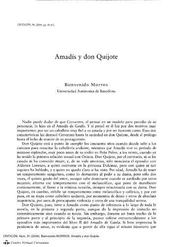 Amadís y don Quijote - Centro Virtual Cervantes - Instituto Cervantes