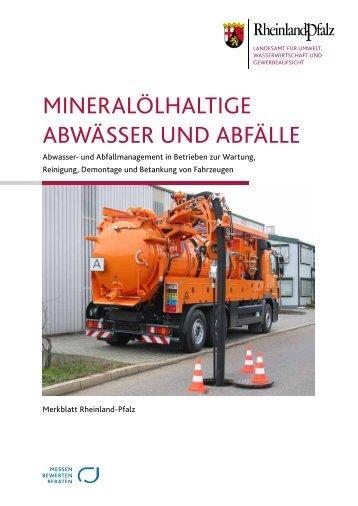 Merkblatt Mineralölhaltige Abwässer und Abfälle - in Rheinland-Pfalz