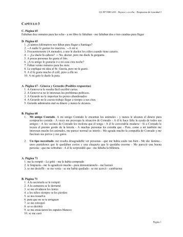 las respuestas para los ejercicios del capítulo #3