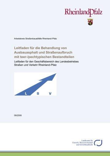 Leitfaden für die Behandlung von Ausbauasphalt - in Rheinland-Pfalz