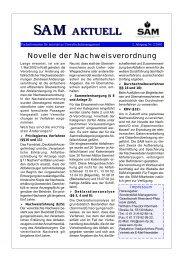 Novelle der Nachweisverordnung - SAM