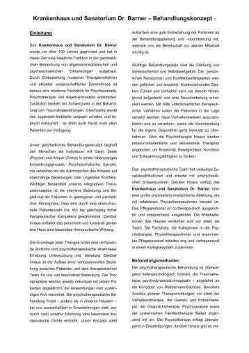 Krankenhaus und Sanatorium Dr. Barner – Behandlungskonzept -