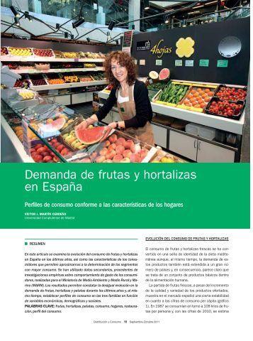 Demanda de frutas y hortalizas en España - Mercasa