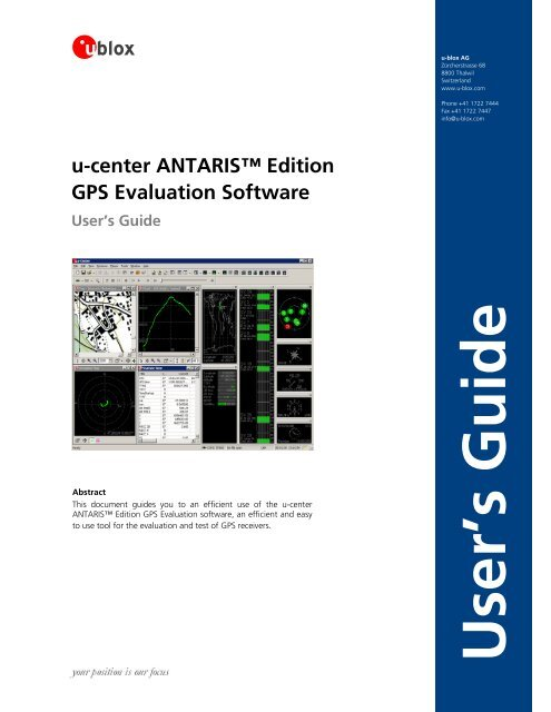 U-center ANTARIS™ Edition GPS Evaluation Software - ELV