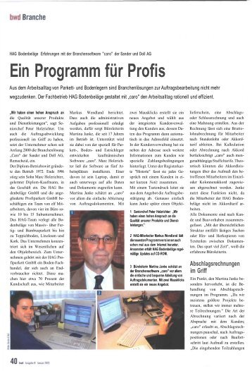Ein Programm für Profis - Sander und Doll AG