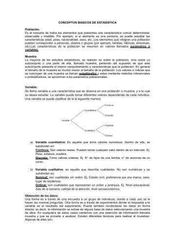 CONCEPTOS BASICOS DE ESTADISTICA Población ... - Webnode
