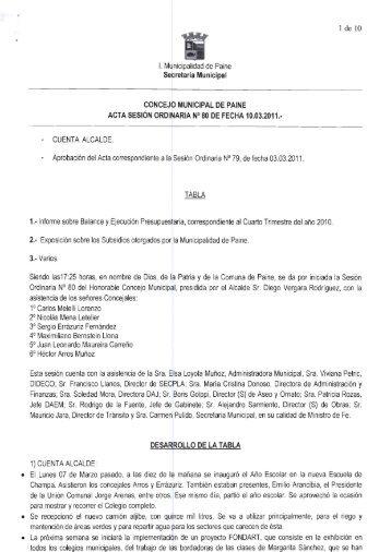 Acta de Sesión Ordinaria Nº 80 / Fecha 10 de Marzo del 2011