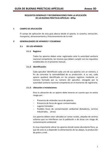 GUÍA DE BUENAS PRÁCTICAS APÍCOLAS Anexo 3D - Senasa