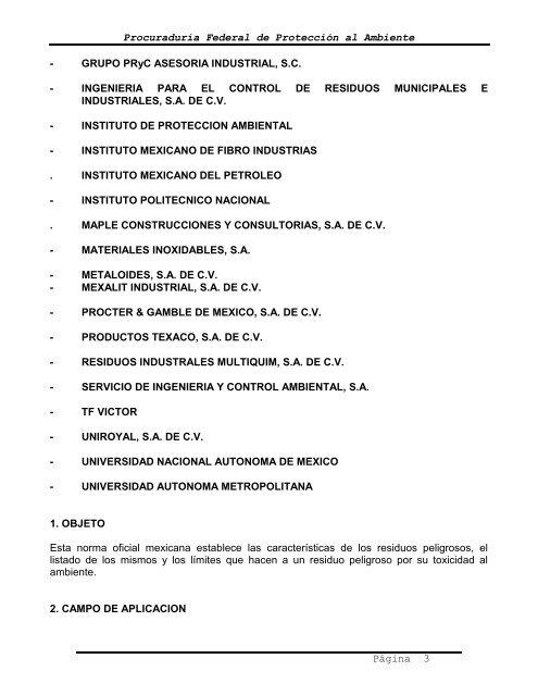 NOM-052-ECOL-199 - Secretaria de Proteccion al Ambiente