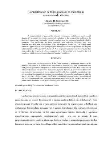 Caracterización de flujos gaseosos en membranas asimétricas de ...