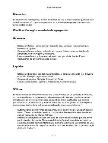 Disolucion Clasificación según su estado de agregación: Gaseosas ...