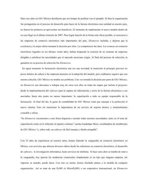 Caso de éxito con la Factura Electrónica - GS1 México