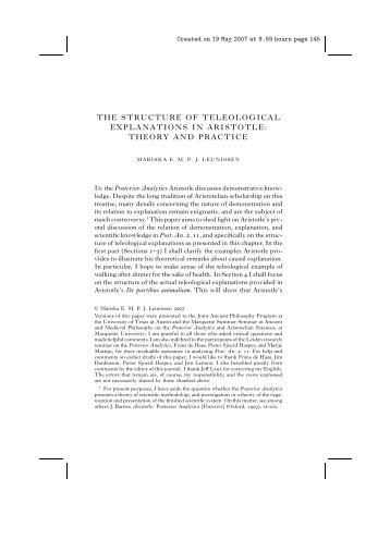 THE STRUCTURE OF TELEOLOGICAL EXPLANATIONS IN ...