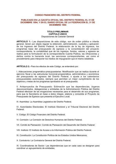 Codigo Financiero Del Distrito Federal Publicado En La