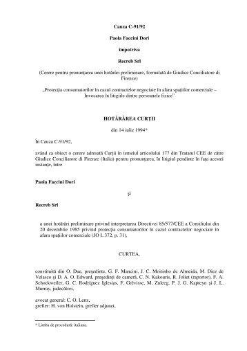 Cauza C-91/92 Paola Faccini Dori împotriva Recreb Srl (Cerere ...