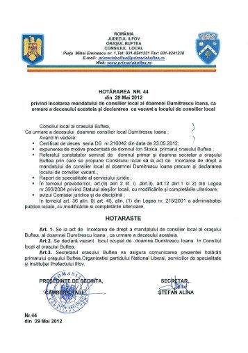 hotărarea nr. 44 - Primaria buftea