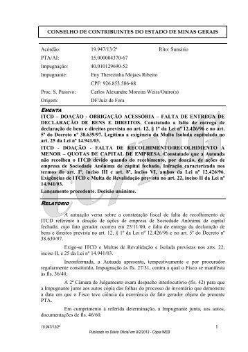 19947 - Secretaria de Estado de Fazenda de Minas Gerais