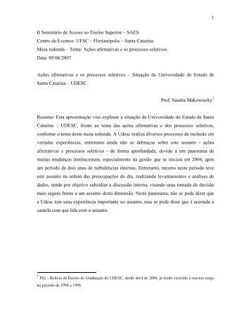 Ações afirmativas e os processos seletivos - Situação da ... - Udesc