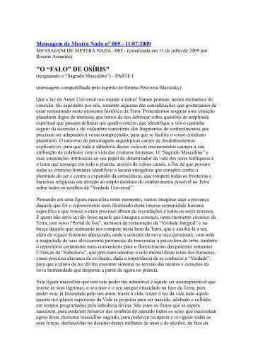 """""""O """"FALO"""" DE OSÍRIS"""" - Escola da Luz"""