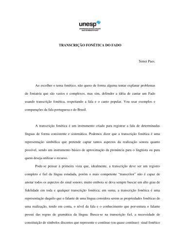 TRANSCRIÇÃO FONÉTICA DO FADO Simei Paes. Ao ... - MusiMid
