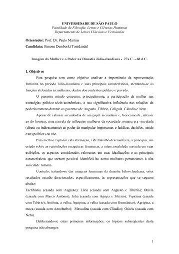 Projeto Mestrado - fflch - USP