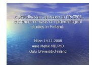 Scandinavian approache and characterization of the CPPS patient