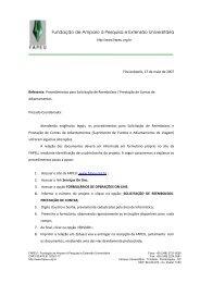 Procedimentos para Solicitação de Reembolso - FAPEU