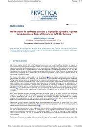 Modificación de contratos públicos y legislación aplicable. Algunas ...