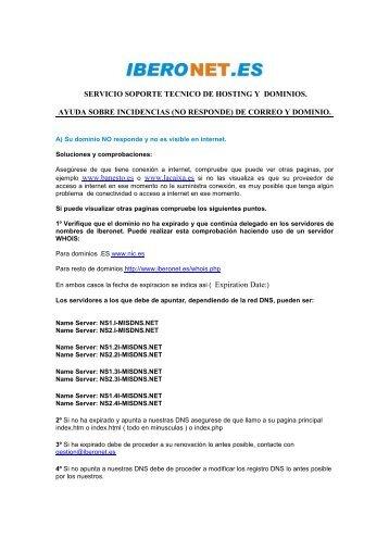 servicio soporte tecnico de hosting y dominios. ayuda - Iberonet