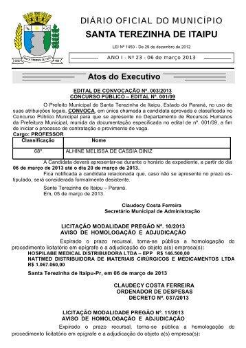 023 - 06/03/2013 - Prefeitura de Santa Terezinha de Itaipu