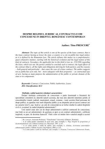 despre regimul juridic al contractului de concesiune in - Revista ...