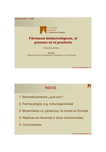 Fármacos biotecnológicos, el proceso es el producto ÍNDICE