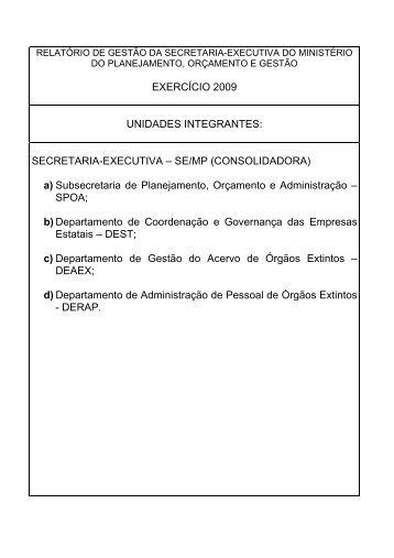 RELATÓRIO DE GESTÃO - Ministério do Planejamento