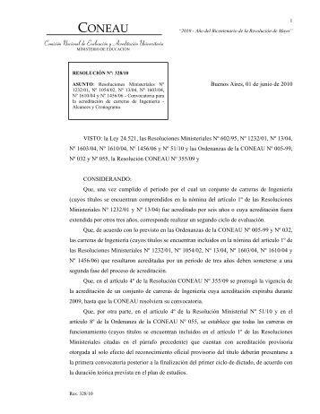Resolución CONEAU Nº 328/10 Convocatoria para la acreditación ...