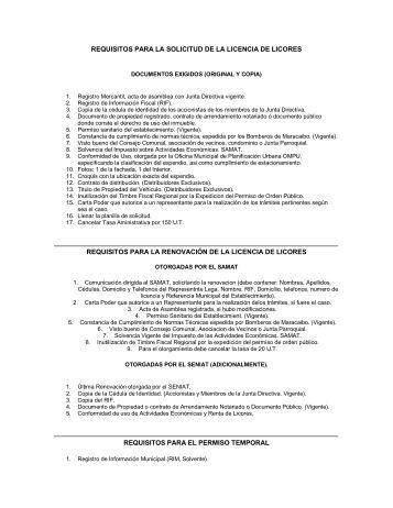 Requisitos Para La Solicitud De La Licencia De Licores - Samat